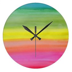 Customizable Watercolor clocks from Zazzle. Choose a pre-existing design for your wall clock or create your own today! Clock Ideas, Passion For Life, Watercolor Walls, I Shop, Rainbow, Photography, Design, Art, Rain Bow