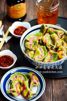 Natural Colorful Dumplings with Pork and Garlic Chive Filling — Yankitchen