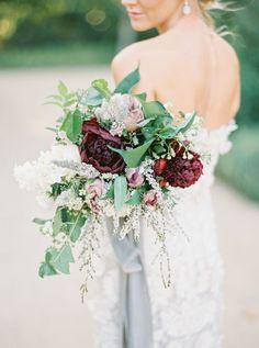 burgundy plum wine bridal bouquet | Photography: Tenth + Grace
