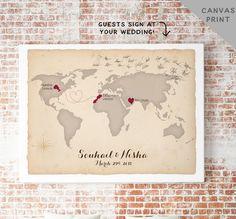 Canvas World Map Guest Book Alternative von MissDesignBerryInc