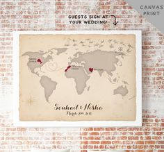 Canvas World Map Guest Book Alternative von MissDesignBerryInc