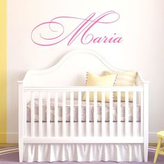 """Fancy Cursive Single Personalized Custom Name Vinyl Wall Art Decal Sticker 45"""" W, Girl Name Decal, Girls Name, Nursery Name, Girls Name Decor, Girls Bedroom Decor, PLUS FREE 12"""" WHITE HELLO DOOR DECAL. 45"""" Wide. Our Nursery Name Wall Decals are Made With Love in the USA, Computer Cut From Our Handmade Artwork for Precision and Detail. Comes With Free Squeegee, Making Application To Any Smooth or Medium Textured Surface Both Fast and Easy. Buy With Confidence, as Our Nursery Name Wall…"""