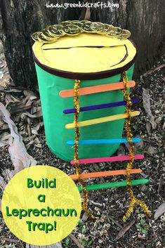 Build a leprechaun trap STEM challenge for kids. Holiday Crafts, Holiday Fun, Fun Crafts, Arts And Crafts, Spring Crafts, Clay Crafts, Holiday Ideas, Green Crafts For Kids, St Patricks Day Crafts For Kids