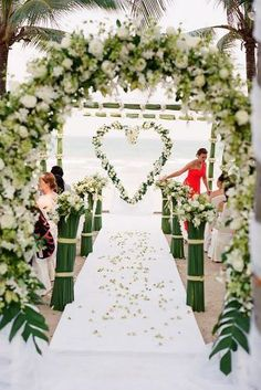30 bright ideas of the decorations of the wedding ceremony ❤ decorations of the summer wedding ceremony with heart-shaped altar robert sukrachand ❤ See Samoan Wedding, Polynesian Wedding, Wedding Ceremony Decorations, Wedding Themes, Wedding Ideas, Wedding Blog, Wedding Altars, Wedding Arches, Wedding Stuff