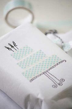 washi-tape-wedding cake - would be cute on a wedding card
