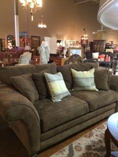 Flexsteel Sofa Sofa Micro Fiber Brown sofa w Pillows Furniture Store On Sale for