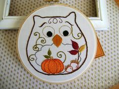 Embroidery Pattern PDF Owl Autumn Fall  pattern on Craftsy.com