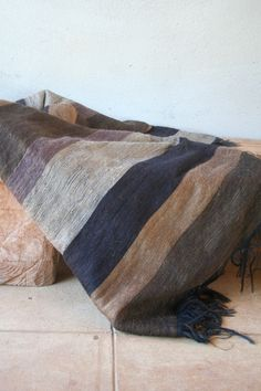 Earth stripe mohair blanket