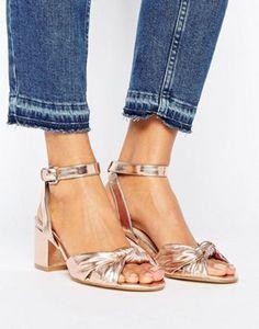 New Look Metallic Bow Front Block Heel