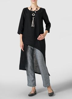 Black Linen Asymmetrical Tunic - Fluttery, romantic and displaying the refined tailoring of VIVID Linen. Cascading detail for graceful movement with each step.