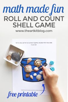 Roll and Add Seashell Counting Math Game - Free Printable We're back with another ocean-themed printable for you today! As you may have noticed, working through the Ocean Guide by The Peaceful Press has really Ocean Activities, Craft Activities For Kids, Math Activities, Games For Kids, Kids Crafts, Preschool Songs, Preschool Lessons, Math Lessons, Counting Games