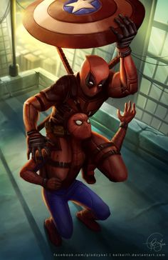 Spiderman is on iron man side while deadpool helps out his hero captain america