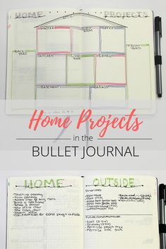 Track all of your home projects in this simple bullet journal spread! Breaking them down by room or section of the house makes it easy to get projects done. Bullet Journal Spread, Bullet Journal Layout, Bullet Journal Inspiration, Bullet Journal Project Planning, Bullet Journal Cleaning, Bullet Journals, Journal Ideas, Home Improvement Loans, Home Improvement Projects