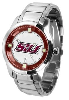 Southern Illinois University Men's Stainless Steel Outdoor Watch by SunTime. $121.95. Officially Licensed Southern Illinois Salukis Men's Stainless Steel Outdoor Watch. Men. AnoChrome Bezel. Stainless Steel. Links Make Watch Adjustable. Southern Illinois Salukis men's stainless steel dress or sports watch. Southern Illinois Salukis timepiece features a quartz accurate movement, stainless steel band and your favorite collegiate logo. The Titan Steel's stylish desi...