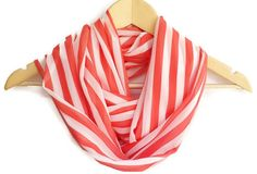 Chiffon Lightweight Soft Striped Coral Infinity Scarf by HeraScarf, $9.90 #handmadebot #fashion #scarf #loopscarf