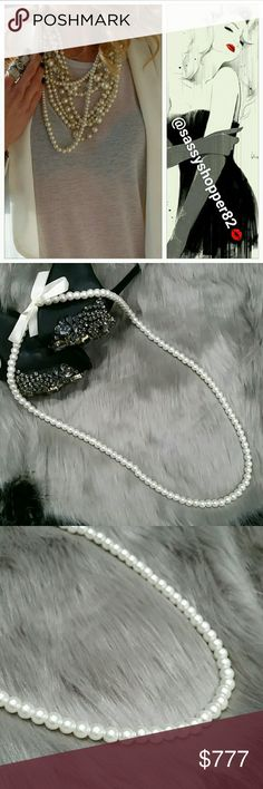 Glamorous strand of pearls NWOT Brand new no tags, boutique   Add this chic and classy strand of pearls to any of your outfits for an on trend look! We are seeing pearls all over the runways and in magazine. Wear 1 or ten, the more the merry. Pearl are a girls bestfriend!  Heavy Faux pearls, slip over your head style Jewelry Necklaces
