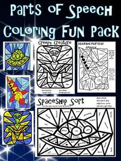Color by Part of speech fun activity pack.