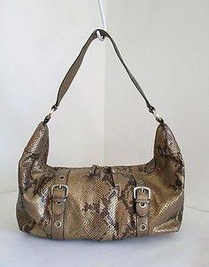 ADRIENNE VITTADINI Bronze Snake Skin Embossed Genuine Leather Hobo Shoulder Bag