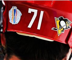 Geno's #WorldCupHockey helmet....A Penguin, no matter where he plays. Love it.