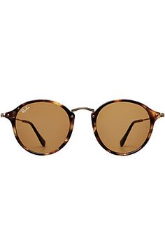 With a tortoiseshell print and a round retro silhouette, make these Ray-Ban sunglasses your first choice for achingly cool style - they promise to go with everything, from casual denim to tough leather #Stylebop