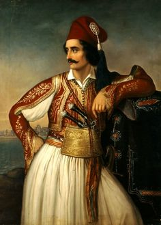 Theodoros Vryzakis Portrait of Anagnostopoulos / National Gallery-Athens, Greece / Greek Traditional Dress, Traditional Outfits, Ancient Greek Costumes, Albanian Culture, Greek Men, Greek Warrior, National Gallery, Corporate Portrait, Great Works Of Art