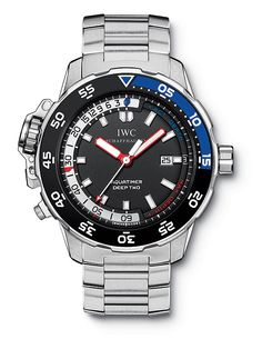 In 2009, the @iwcwatches Aquatimer Deep Two Ref. 3547 succeeded the GST Deep One; it included a precise mechanical depth gauge that showed current dive depth as well as the depth attained during a dive, to a maximum of 50 meters. For the full story, visit: http://www.watchtime.com/wristwatch-industry-news/watches/diving-into-history-5-milestone-iwc-aquatimer-watches/ #iwcwatches #watchtime #divewatch