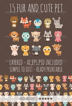 15 Fur Pets — Photoshop PSD #fawn #cat • Available here → https://graphicriver.net/item/15-fur-pets/6965399?ref=pxcr