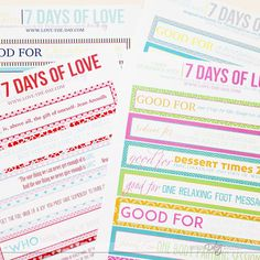 7 DAYS OF LOVE- Great idea for celebrating your anniversary or his birthday ALL week long! Week Long Lovin' Kit from The Dating Divas. Great boyfriend gift or husband gift.