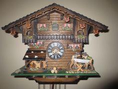 HONES GERMAN chalet 1 day musical CUCKOO clock waterwheel saw men Black forest | eBay