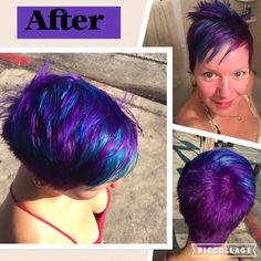 Mermaid rainbow hair - purple, blue, teal. Pixie (short) hair length. Fantastically done by manic panic in LA.