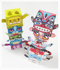 Paper Totem project - ongoing free-to-download-and-build paper toy project.  Hide this one away for late summer break days.