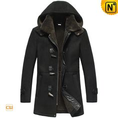 Mens Designer Black Sheepskin Shearling Coat with Hood CW878135 $1655.89 - www.cwmalls.com