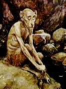 Urisk is a Scottish solitary fairy, resembling the fawns and satyrs of Greece and Italy, he haunts lonely pools of water, he actually seeks out human company but his appearance frightens those he approaches. Satyr, Sprites, Mythical Creatures, Writing Inspiration, Faeries, Gnomes, Elves, Lonely, Pools