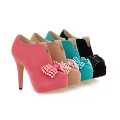 Cute Bow Knot Design Multi Colored High Heel