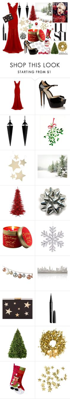 """""""Christmas Gown and Decor"""" by book-girl-4 ❤ liked on Polyvore featuring Brian Atwood, Oasis, Bethany Lowe, Pottery Barn, Lily-Flame, DwellStudio, Valerie Atkisson, Kayu, Marc Jacobs and Philippa Craddock"""
