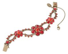 Vintage Looking Michal Negrin Enchanting Two-Tiered Bracelet, From the Timeless Spark Collection, Beautifully Crafted with Red Swarovski Crystals, Garnished with Flower Ornaments $143.00
