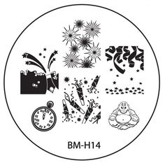 2013 Holiday Nail Stamping Plate BMH14 - New Years Eve + Happy Buddha