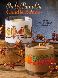 Owl & Pumpkin Candle Bands from the Sep/Oct 2014 issue of Just CrossStitch Magazine. Order a digital copy here: http://www.anniescatalog.com/detail.html?code=AM53354