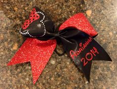 Personalized Minnie Mouse glitter rhinestone cheer bow on Etsy, $15.00