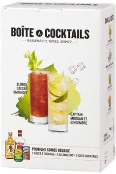 Idée originale pour les amateurs de cocktails! Cette boîte contient une bouteille de rhum épicé Captain Morgan de 375 ml, une bouteille de vodka Smirnoff Triple Distillation de 375 ml, une cannette de Clamato Motts et de soda gingembre Schweppes. (26,15 $)