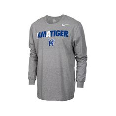 Men's Nike Memphis Tigers College Core Long-Sleeve T-Shirt, Grey ($32) ❤ liked on Polyvore featuring men's fashion, men's clothing, men's shirts, men's t-shirts, grey, mens grey shirt, mens gray dress shirt, mens t shirts, mens long sleeve t shirts and mens longsleeve shirts