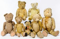 Lot 432: Beige Mohair Bear Assortment; Seven jointed bears with glass eyes, some with humped backs and filled with excelsior and kapok
