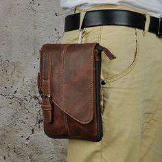 Men Real Leather Design Waist Belt Pack Fashion Small Shoulder Messenger Bag #leaokuu #FannyWaistPack