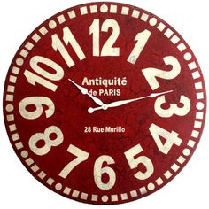 Large Wall Clock 36 inch Red Murillo PARIS  tuscan by Klocktime