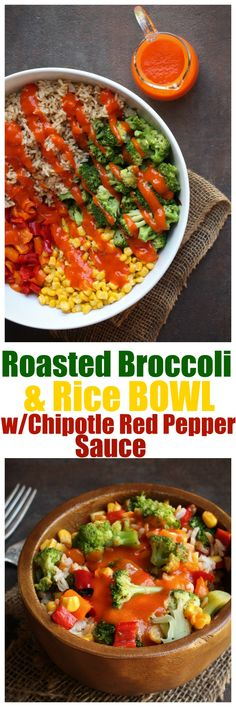 This roasted broccoli and rice bowl is super healthy, filling and nearly fat-free! An amazing red bell pepper chipotle chile sauce completes the dish! Whole recipe just 8 ingredients! | http://TheVegan8.com