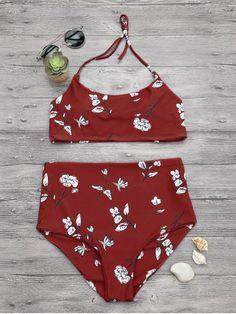 Slimming Control High Waisted Bralette Bikini Set - Red S Bandeau Bikini Set, Crop Top Bikini, Bralette Bikini, Bikini Swimwear, Swimsuits, Swimwear Model, Swimwear Brands, Swimwear Fashion, Bikini Fashion