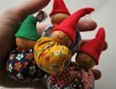Little gnome tutorial. Spent some time looking for wooden beads and gave up. Then I went into a local store and they had two big boxes of them...