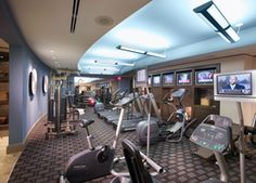 Fitness center in 7 Riverway Condos in Houston, Texas.