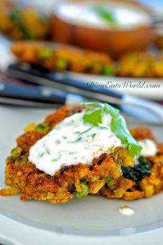 Indian Spiced Cauliflower, Potato & Pea Fritters with Yogurt Sauce