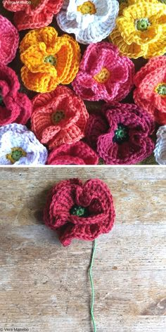 Beautiful Crochet Flowers Free Patterns - Free Crochet Patterns Beautiful Crochet Flowers are not only easy to make, but also a great way to use up the leftover yarn. They are so versatile, you can apply them almost Poppy Crochet, Crochet Poppy Free Pattern, Beau Crochet, Crochet Flower Tutorial, Crochet Butterfly, Crochet Leaves, Knitted Flowers, Crochet Patterns, Crochet Roses